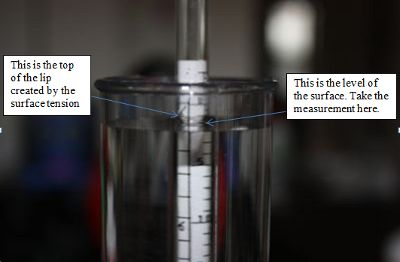 Closeup of surface tension around hydrometer